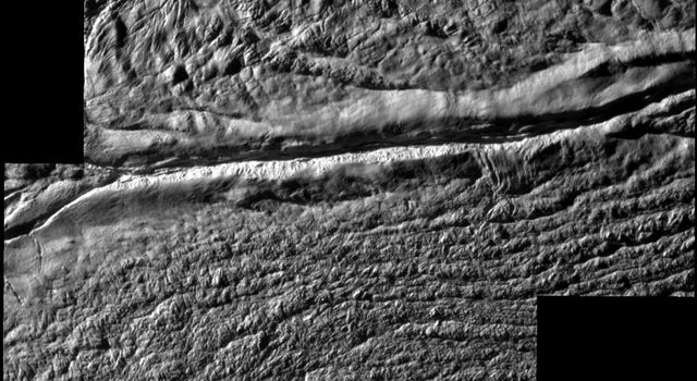 NASA's Cassini spacecraft shot past the surface of Saturn's moon Enceladus on Aug. 11, 2008, acquiring a set of seven high-resolution images targeting known jet source locations on the moon's 'tiger stripe' fractures, or sulci.