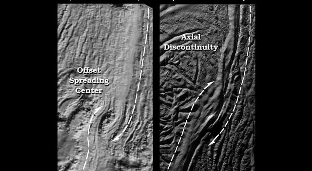 Two side-by-side images compare a 'twisted' sea-floor spreading feature on Earth, to a very similar looking twisted break, in the Damascus Sulcus 'tiger stripe' on Saturn's moon Enceladus. The image of Enceladus was acquired by NASA's Cassini spacecraft.
