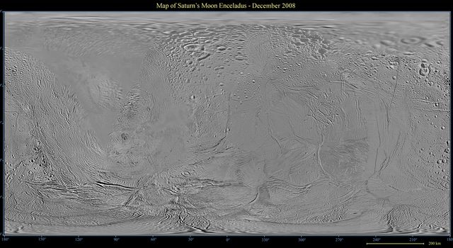 This global map of Saturn's moon Enceladus was created using images taken during NASA's Cassini spacecraft's flybys, with Voyager images filling in the gaps in Cassini's coverage.