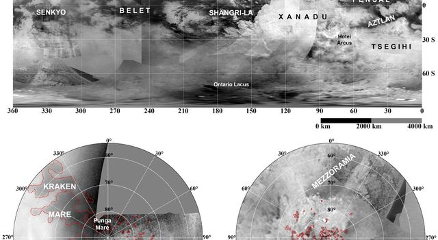 These updated maps of Saturn's moon Titan, consisting of data from NASA's Cassini imaging science subsystem, include Cassini's August 2008 imaging of the moon's northern hemisphere.