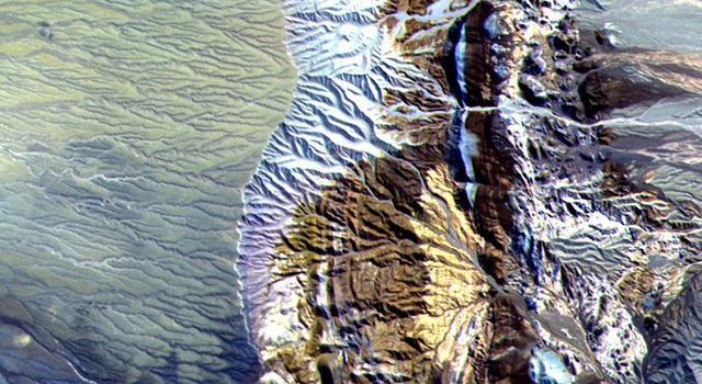 This image of northern Chile was acquired by NASA's Terra spacecraft on April 7, 2000. Dramatically displayed is a geological angular unconformity: a contact between layers of rock at different angles.