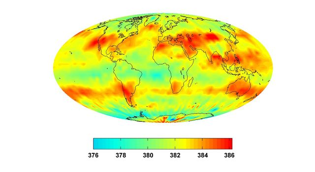 This image was created with data acquired by the Atmospheric Infrared Sounder, AIRS, during July 2008. The image shows large scale patterns of carbon dioxide concentrations that are transported around the Earth by the general circulation of the atmosphere