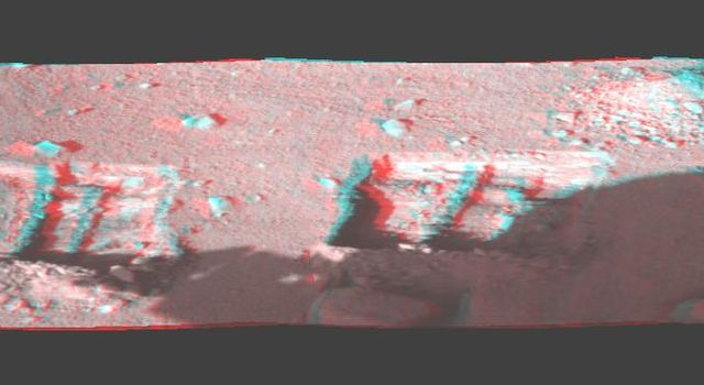 This image is a stereo, panoramic view of various trenches dug by NASA's Phoenix Mars Lander on Oct. 7, 2008. 3D glasses are necessary to view this image.
