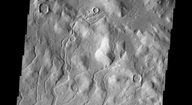 This image from NASA's Mars Odyssey shows channels located on the inner rim of Cerulli Crater on Mars.