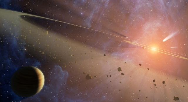 This artist's conception shows the closest known planetary system to our own, called Epsilon Eridani. Observations from NASA's Spitzer Space Telescope show that the system hosts two asteroid belts.