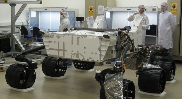Wheels were first attached to NASA's Mars Science Laboratory rover in August 2008. The rover and its descent stage and cruise stage were assembled and tested at NASA's Jet Propulsion Laboratory, Pasadena, Calif., for launch in 2009.