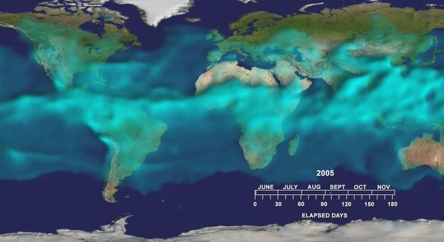 This visualization from the Atmospheric Infrared Sounder (AIRS) on NASA's Aqua satellite shows variations in the three dimensional distribution of water vapor in the atmosphere during the summer and fall of 2005.