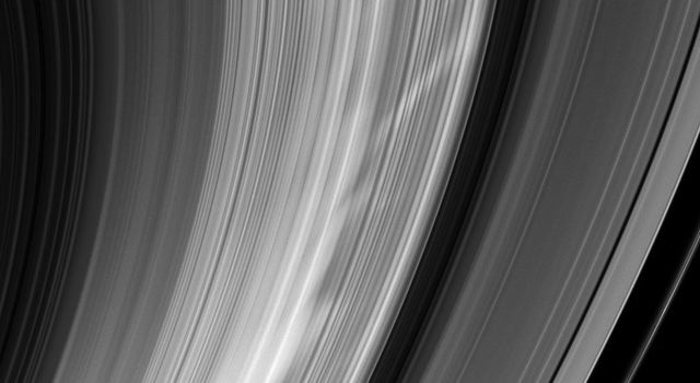 As NASA's Cassini sped around Saturn on Feb. 2, 2009, the spacecraft turned to snap this image of bright spokes giving chase around the B ring.