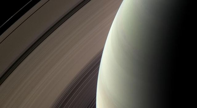 Saturn's northern hemisphere is seen against its nested rings in this image from NASA's Cassini spacecraft taken on Feb. 24, 2009.