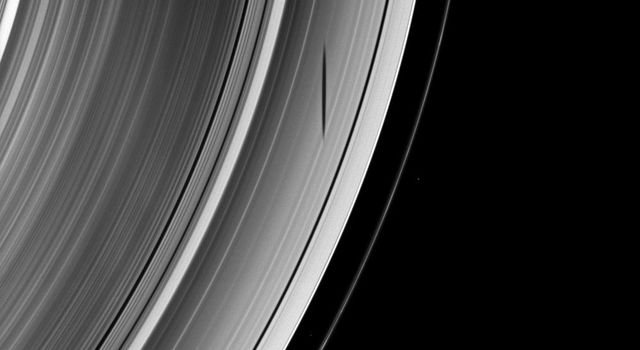 The short and slender shadow of Pan is cast over Saturn's A ring as the moon orbits within the Encke Gap in this from NASA's Cassini spacecraft taken on April 10, 2009.