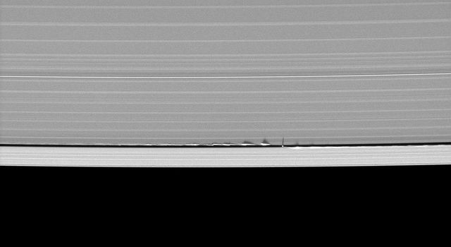 Looming vertical structures created by the tiny moon Daphnis cast long shadows across the rings in this startling image taken by NASA's Cassini spacecraft on May 24, 2009, as Saturn approaches its mid-August 2009 equinox.