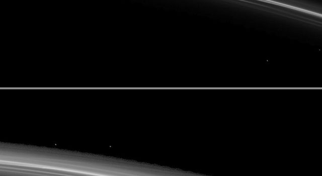 As Saturn approaches its August 2009 equinox, a shadow is cast by a narrow, vertically extended feature in the F ring as seen by NASA's Cassini spacecraft.