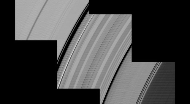 Alternating light and dark bands, extending a great distance across Saturn's D and C rings taken by NASA's Cassini spacecraft one month before the planet's August 2009 equinox.