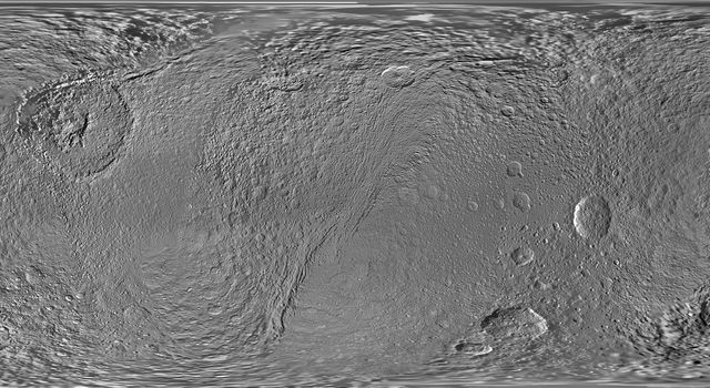 This updated global map of Saturn's moon Tethys was created using images taken by NASA's Cassini spacecraft.