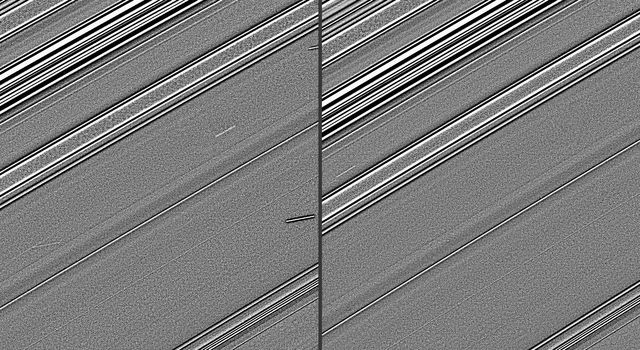 These two images, taken four years before Saturn's August 2009 equinox by NASA's Cassini spacecraft, indicate the streaks in these images are likely evidence of impacts into the planet's rings.