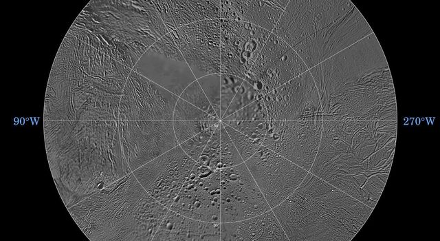 The northern and southern hemispheres of Enceladus are seen in these polar stereographic maps, mosaicked from the best-available images from NASA's Cassini and Voyager.