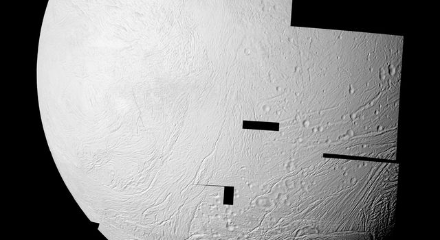 NASA's Cassini spacecraft captured this high resolution image of the western hemisphere of Saturn's moon Enceladus where newly created terrain of this geologically active moon's south polar region meets older, crater-filled terrain further north.