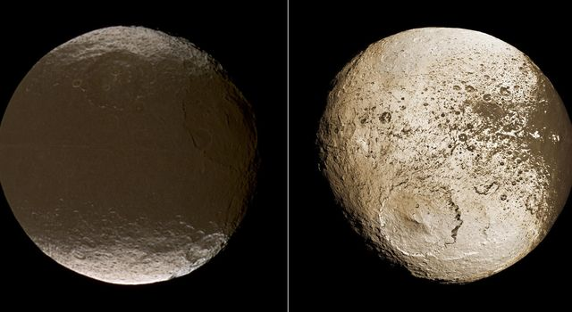 These two global images of Iapetus taken by NASA's Cassini's spacecraft show the extreme brightness dichotomy on the surface of this peculiar Saturnian moon.