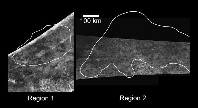 NASA's Cassini Radar Mapper imaged Titan on Feb. 22, 2008 (as shown on the left) and April 30, 2006 (as shown on the right).
