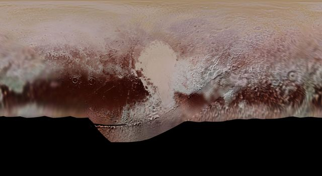This detailed global mosaic color map of Pluto is based on a series of three color filter images obtained NASA's New Horizons during the spacecraft's close flyby of Pluto in July 2015.