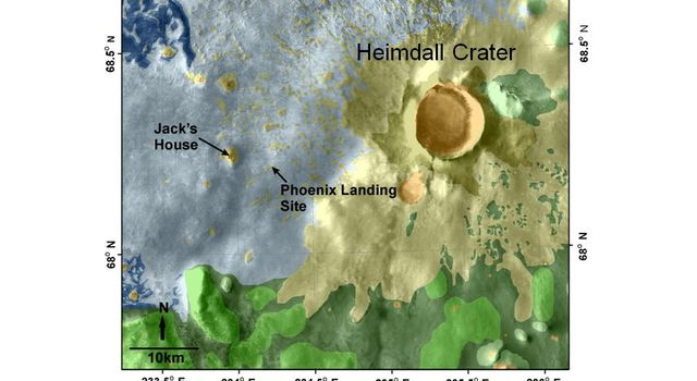 This map shows a color-coded interpretation of geomorphic units -- categories based on surface textures and contour -- in the region where NASA's Phoenix Mars Lander has studied an arctic Martian plain.