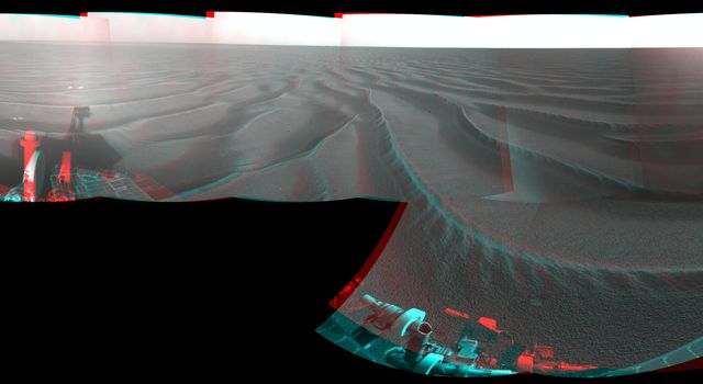 NASA's Mars Exploration Rover Opportunity combined images into this stereo, 360-degree view of the rover's surroundings on Oct. 22, 2008. Opportunity's position was about 300 meters southwest of Victoria. 3D glasses are necessary to view this image.