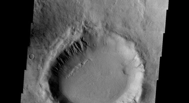 This image from NASA's Mars Odyssey shows the eastern portion of the Hellas basin on Mars. It has gullies and arcuate ridges on its north, pole-facing interior wall.