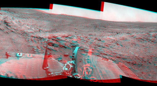 NASA's Mars Exploration Rover Spirit used its navigation camera to take the images assembled into this stereo, 120-degree view southward after a short drive on February 3, 2009. 3D glasses are necessary to view this image.