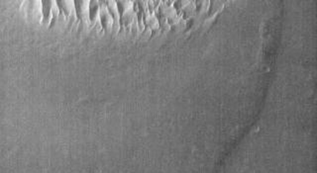 This infrared image of Proctor Crater shows the dune field on the floor of the crater on Mars. The dunes are bright in this daytime image, indicating they are warmer than the surrounding crater materials as seen by NASA's Mars Odyssey spacecraft.