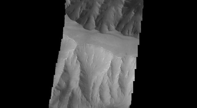 This 2001 Mars Odyssey spacecraft image crosses Coprates Chasma on Mars, showing both floor and wall features of the canyon.