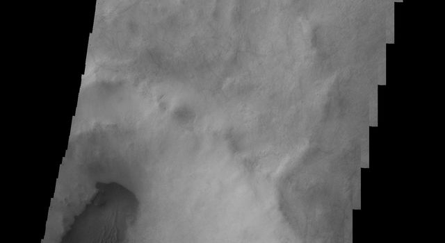 This 2001 Mars Odyssey image shows dark dunes located on the floor of this unnamed crater in Terra Sirenum on Mars.