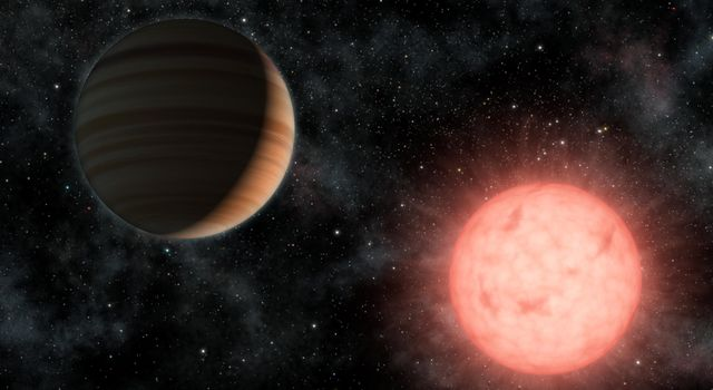 This artist's concept shows the smallest star known to host a planet. The planet, called VB 10b, was discovered using astrometry, a method in which the wobble induced by a planet on its star is measured precisely on the sky.
