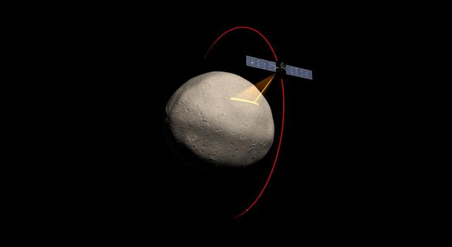 Artist's concept of the Dawn spacecraft gathering spectral data from Vesta.
