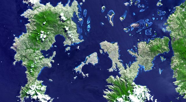 NASA's Terra spacecraft imaged the Indonesian islands of Komodo, Rintja, Padar, and Flores in the Komodo National Park. The Komodo dragon is the world's largest lizard species.