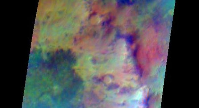 Pastel colors swirl across Mars, revealing differences in the composition and nature of the surface in this false-color infrared image taken on May 22, 2009, by NASA's Mars Odyssey spacecraft.