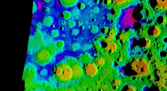 This composite image depicts the moon's rugged south polar region in two lights. The color image is the highest resolution topography map to date of the moon's south pole.