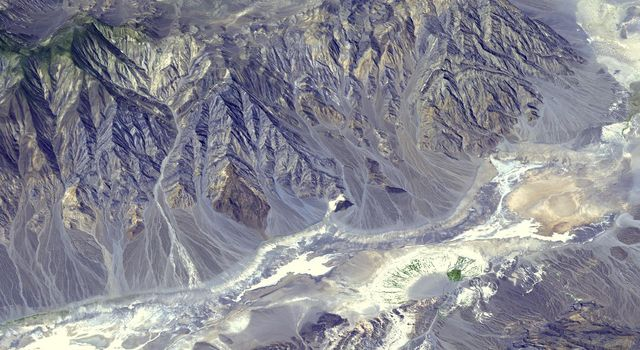 Death Valley, Calif., has the lowest point in North America, Badwater at 85.5 meters (282 feet) below sea level. It is also the driest and hottest location in North America. This image is from NASA's Terra spacecraft.