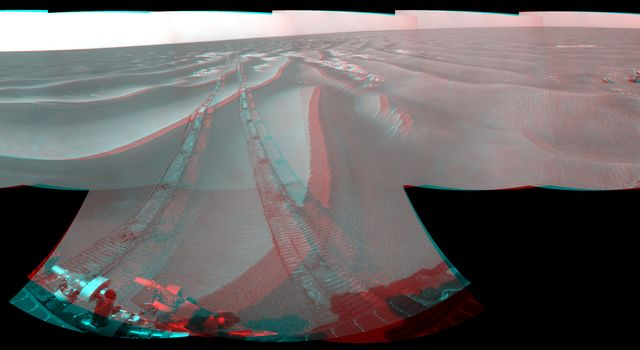 NASA's Opportunity had driven 62.5 meters (205 feet) that sol, southward away from an outcrop called 'Penrhyn,' which the rover had been examining for a few sols, and toward a crater called 'Adventure.' 3D glasses are necessary to view this image.
