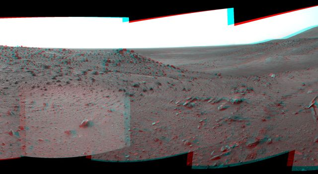 This stereo scene combines frames taken by the navigation camera on NASA's Mars Exploration Rover Spirit during the 1,891st Martian day, or sol, of Spirit's mission on Mars (April 28, 2009). You will need 3-D glasses to view this image.
