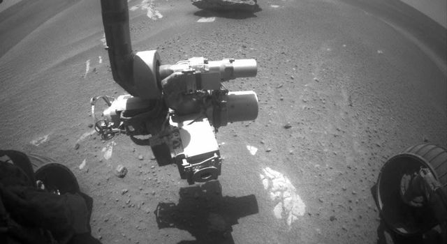 This image of 'Block Island' was taken on July 28, 2009, with the front hazard-identification camera on NASA's Mars Exploration Rover Opportunity.