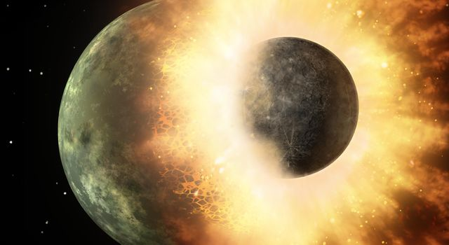This artist's concept shows a celestial body about the size of our moon slamming at great speed into a body the size of Mercury. NASA's Spitzer found evidence that a high-speed collision of this sort occurred a few thousand years ago around a young star.