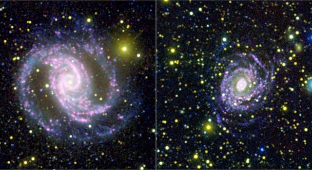 These two photographs were made by combining data from NASA's Galaxy Evolution Explorer spacecraft and the Cerro Tololo Inter-American Observatory in Chile to learn that not all galaxies make stars of different sizes in the same quantities.