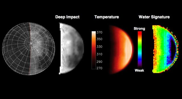This chart highlights observations from NASA's Deep Impact mission of the northern polar regions of the moon acquired on June 9, 2009. The water signature varies significantly across the lunar surface.