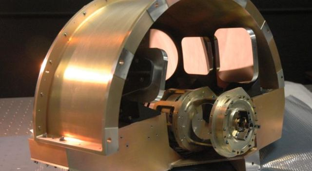 NASA's Wide-field Infrared Survey Explorer, or WISE, back-end imager optics. This picture shows the imager optics which are mounted at the back of the optical system.