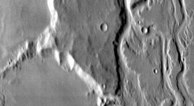 This image from NASA's Mars Odyssey shows a portion of Mangala Vallis on Mars.