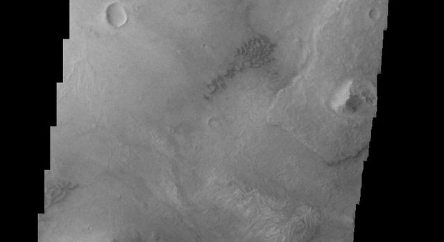 This NASA 2001 Mars Odyssey image shows part of the floor of Coprates Chasma.