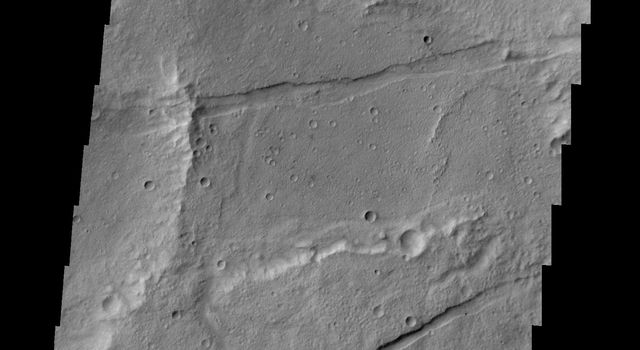 This image from NASA's 2001 Mars Odyssey spacecraft shows a small portion of Sirenum Fossae. The fractures of the Fossae are graben -- a downdropped block between two faults.