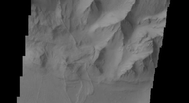 Several landslide deposits are visible in this image of Coprates Chasma taken by NASA's 2001 Mars Odyssey spacecraft.