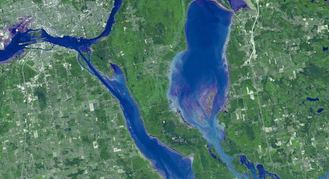 Sault Ste. Marie is the name of two cities on Saint Mary's River, separating Canada and the State of Michigan in the United States. This image was acquired by NASA's Terra spacecraft on June 10, 2007.