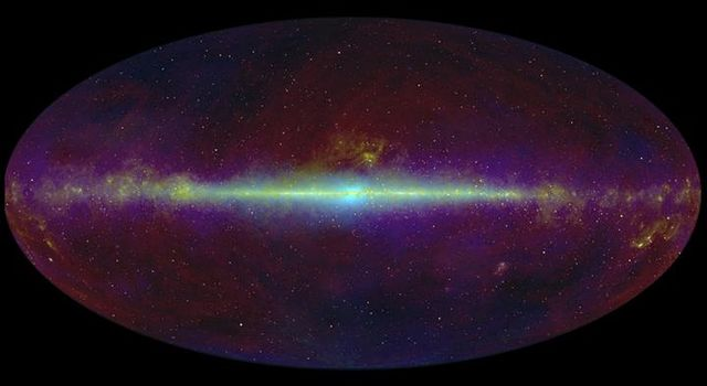 This infrared view of the whole sky highlights the flat plane of our Milky Way galaxy (line across middle of image). NASA's WISE, will take a similar infrared census of the whole sky, only with much improved resolution and sensitivity.